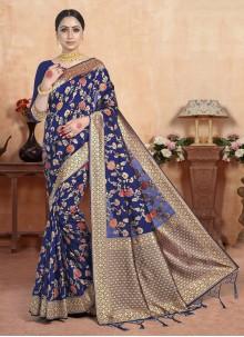 Navy Blue Art Silk Weaving Ceremonial Saree