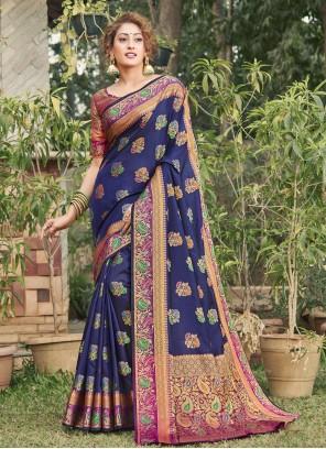 Navy Blue Banarasi Silk Bollywood Saree