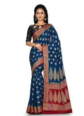 Navy Blue Banarasi Silk Bollywood Saree