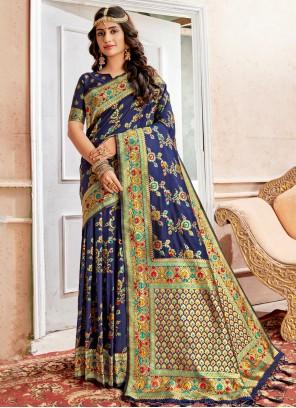 Navy Blue Banarasi Silk Reception Saree