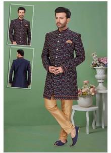 Navy Blue Banglori Silk Reception Sherwani