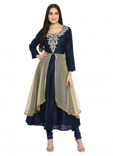 Navy Blue Bhagalpuri Silk Party Readymade Salwar Suit