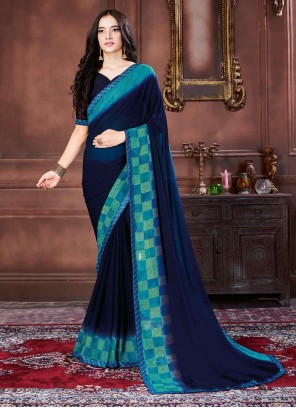 Navy Blue Border Georgette Traditional Saree