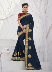 Navy Blue Border Silk Trendy Saree