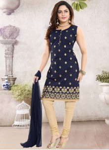 Navy Blue Color Churidar Designer Suit