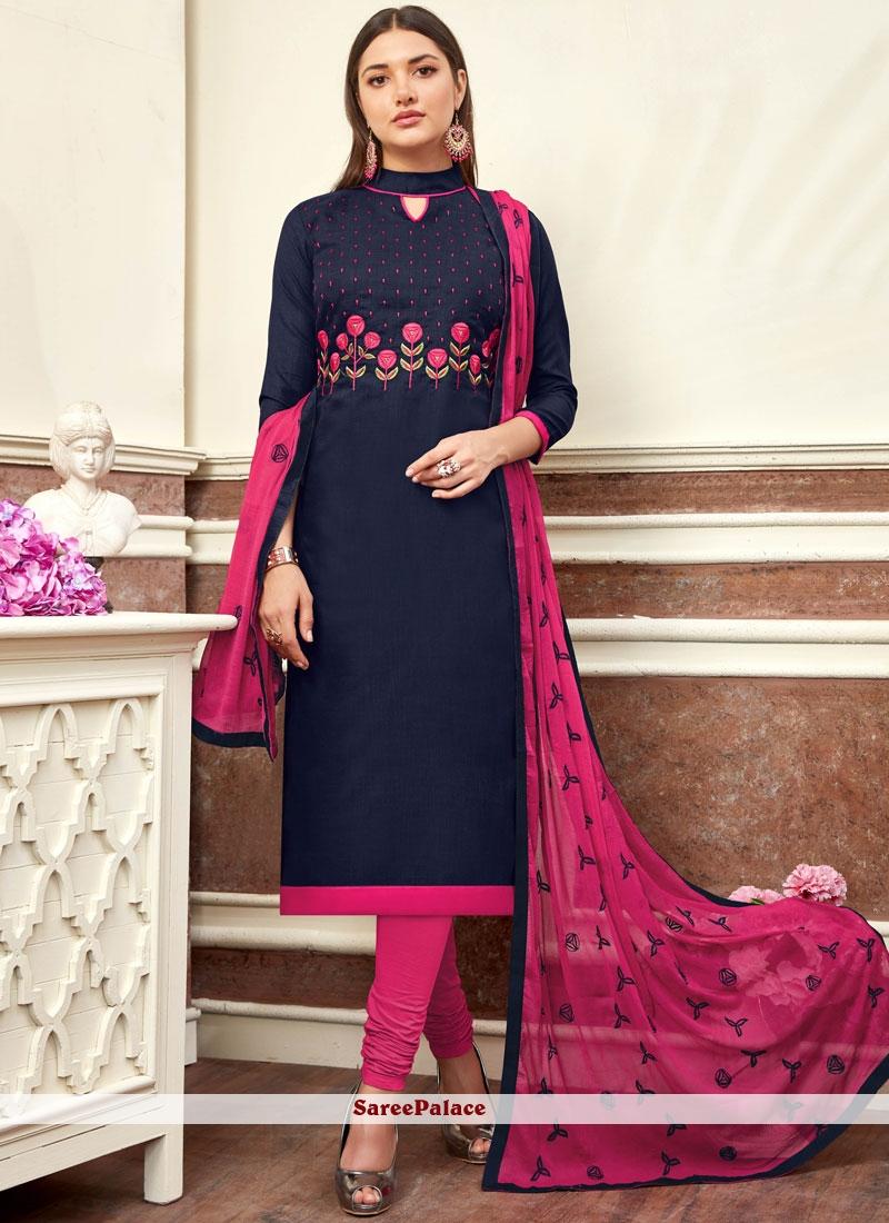 cf21f6ab2c Buy Navy Blue Color Churidar Salwar Kameez Online