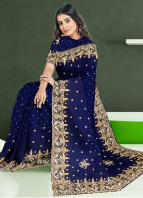 Navy Blue Color Classic Designer Saree