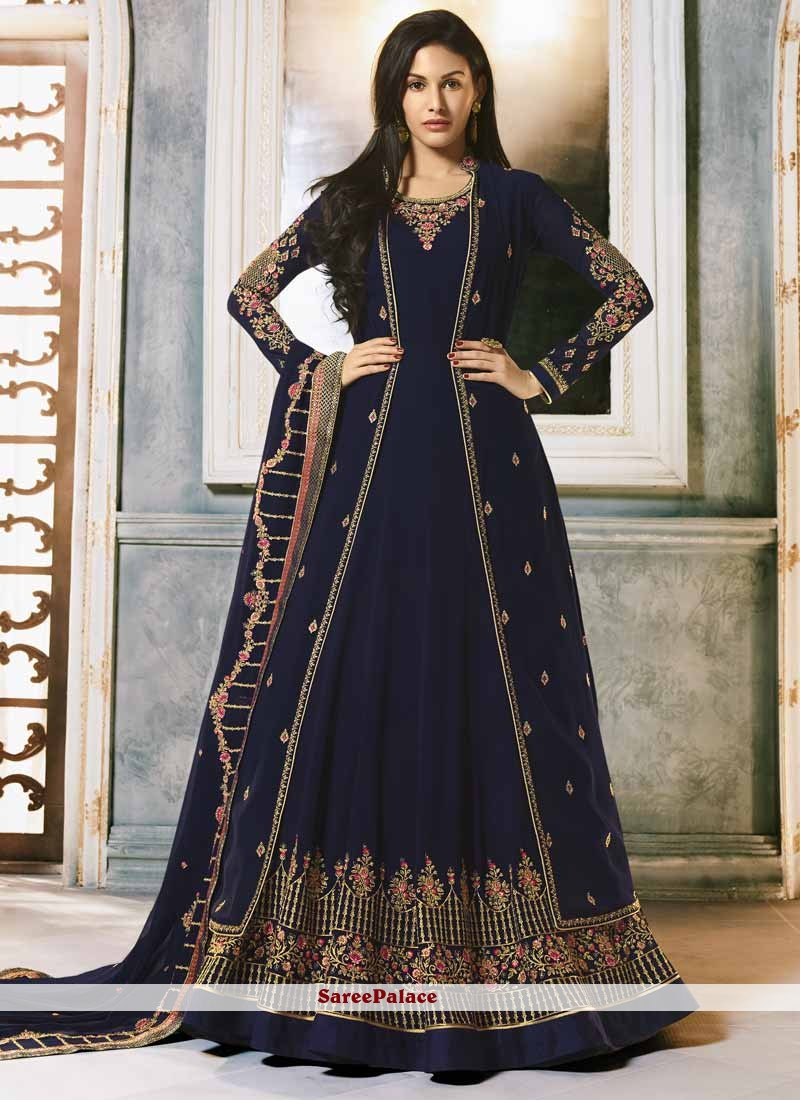 Navy Blue Color Floor Length Anarkali Suit