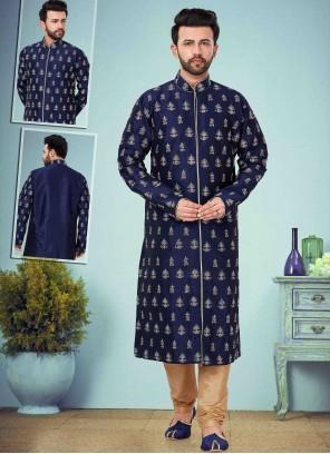 Navy Blue Color Kurta Pyjama