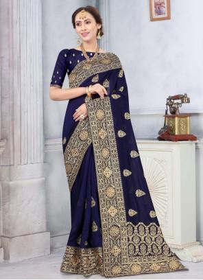 Navy Blue Color Traditional Designer Saree