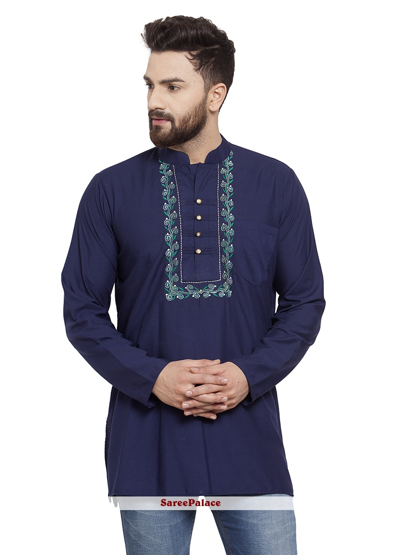 Navy Blue Cotton Party Kurta