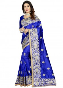 Navy Blue Embroidered Art Silk Classic Designer Saree