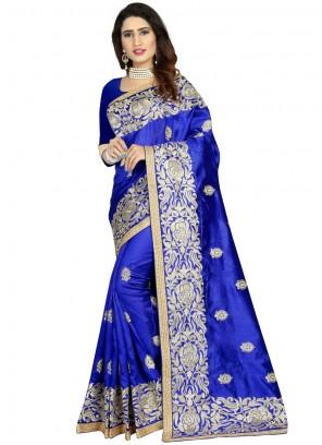 Navy Blue Embroidered Art Silk Classic Designer Saree