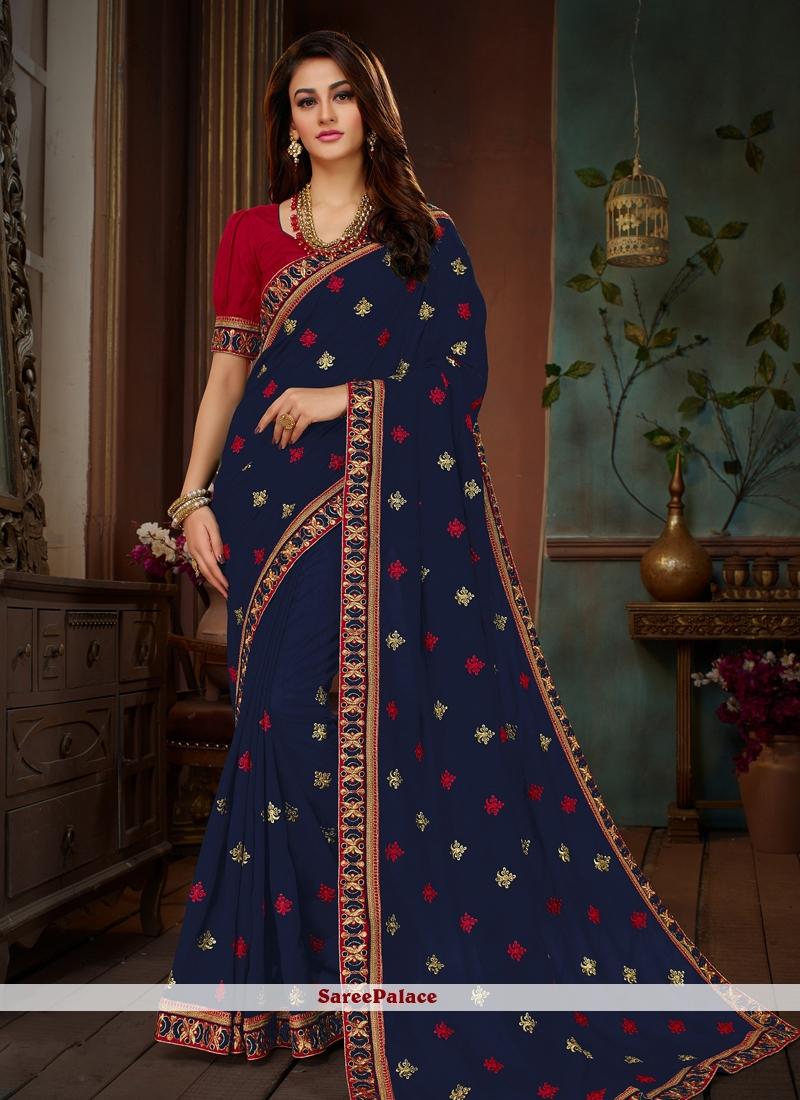Navy Blue Embroidered Art Silk Designer Traditional Saree