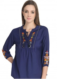 Navy Blue Embroidered Casual Casual Kurti