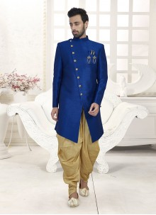 Navy Blue Embroidered Ceremonial Indo Western