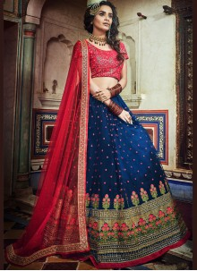 Navy Blue Embroidered Designer Lehenga Choli