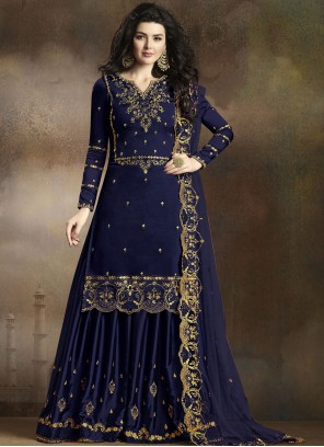 Navy Blue Embroidered Designer Palazzo Salwar Suit