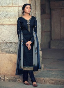 Navy Blue Embroidered Designer Straight Suit