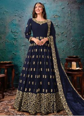 Navy Blue Embroidered Desinger Anarkali Salwar Kameez
