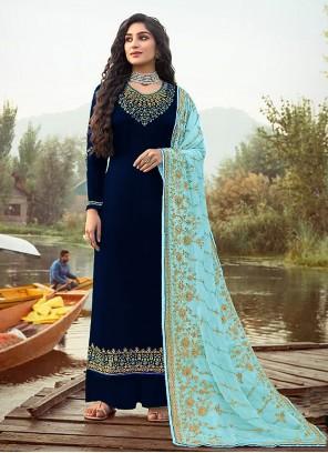 Navy Blue Embroidered Festival Designer Palazzo Salwar Kameez