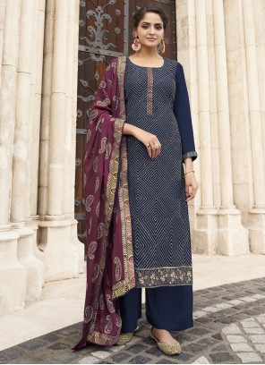Navy Blue Embroidered Festival Designer Palazzo Suit