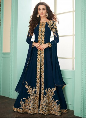 Navy Blue Embroidered Georgette Designer Suit