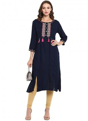Navy Blue Embroidered Party Wear Kurti