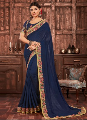 Navy Blue Embroidered Poly Silk Traditional Saree