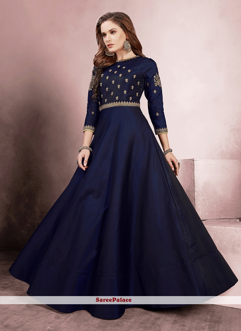 b8ad8d45082 Buy Navy Blue Embroidered Tafeta Silk Readymade Gown-Embroidry
