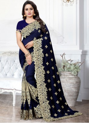 Navy Blue Embroidered Traditional Saree