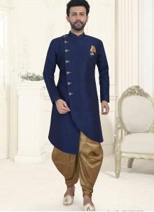 Navy Blue Embroidered Wedding Indo Western