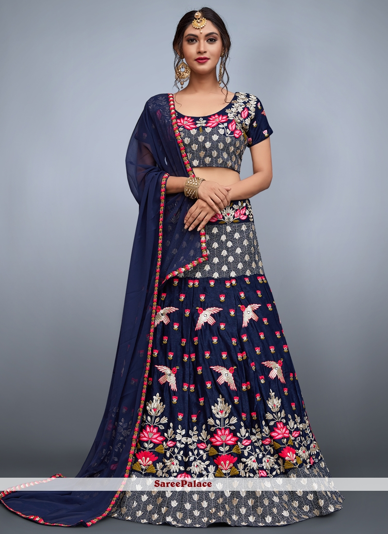 6ad5424036b42 Buy Navy Blue Embroidered Work Art Silk Lehenga Choli Online