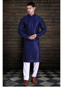 Navy Blue Engagement Art Silk Kurta Pyjama