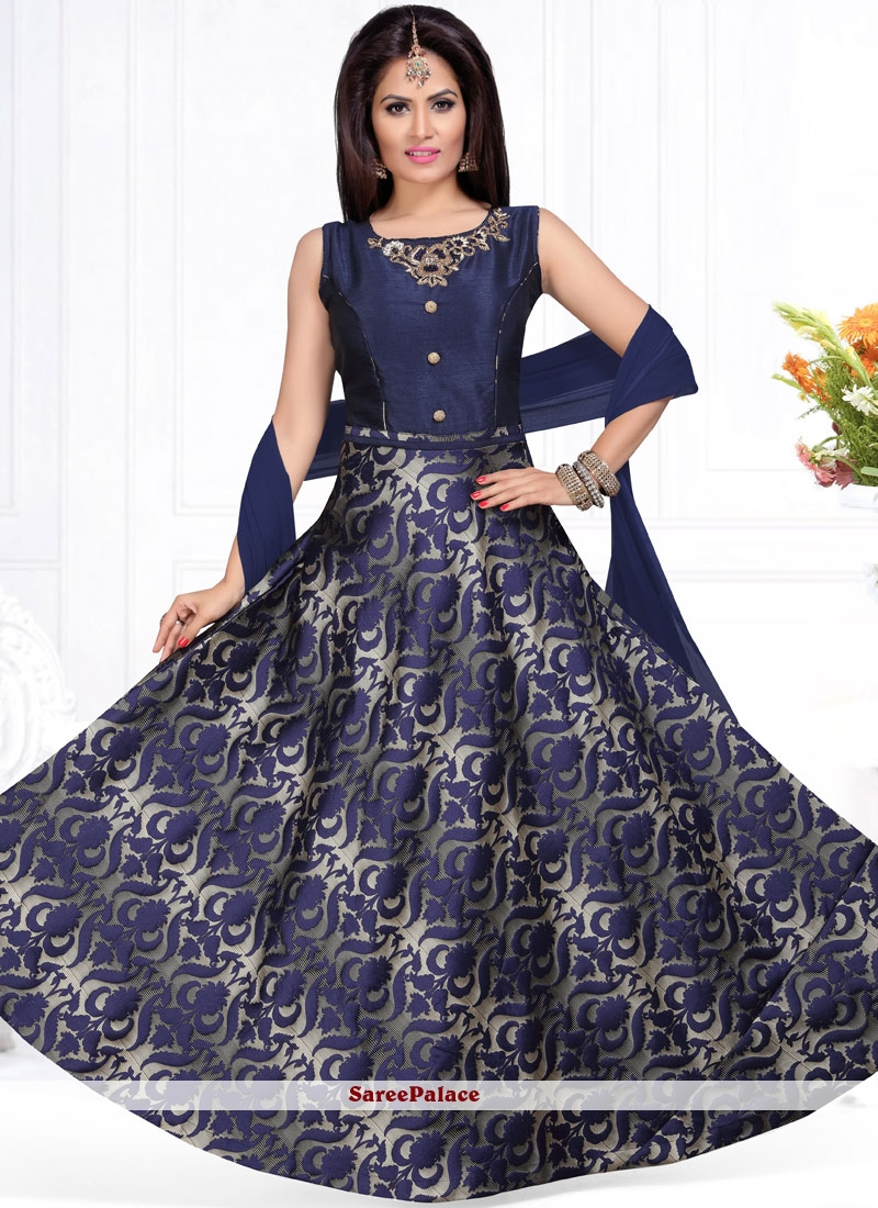 Navy Blue Fancy Fabric Readymade Suit