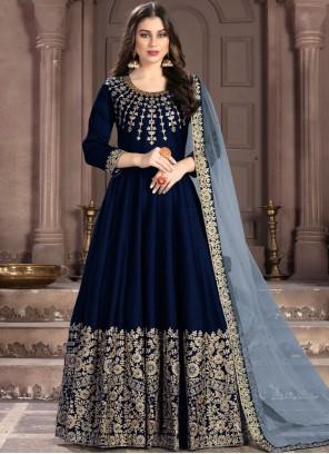Navy Blue Fancy Fabric Resham Anarkali Suit