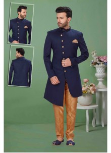 Navy Blue Fancy Fabric Sherwani
