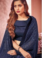 Navy Blue Fancy Festival Classic Designer Saree