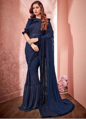Navy Blue Fancy Festival Classic Designer Saree