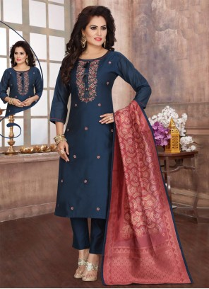 Navy Blue Fancy Readymade Suit