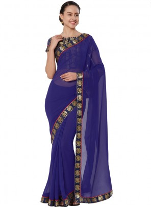 Navy Blue Faux Chiffon Lace Casual Saree