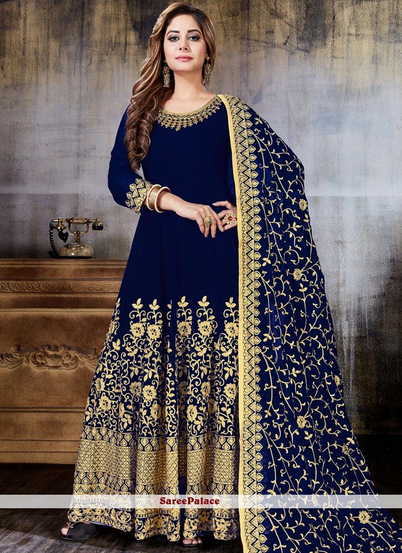 Navy Blue Faux Georgette Anarkali Salwar Suit