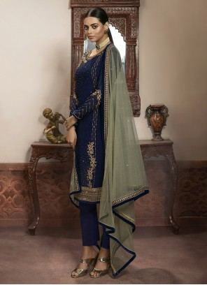 Navy Blue Faux Georgette Ceremonial Pant Style Suit