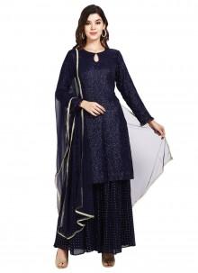 Navy Blue Faux Georgette Festival Designer Pakistani Suit