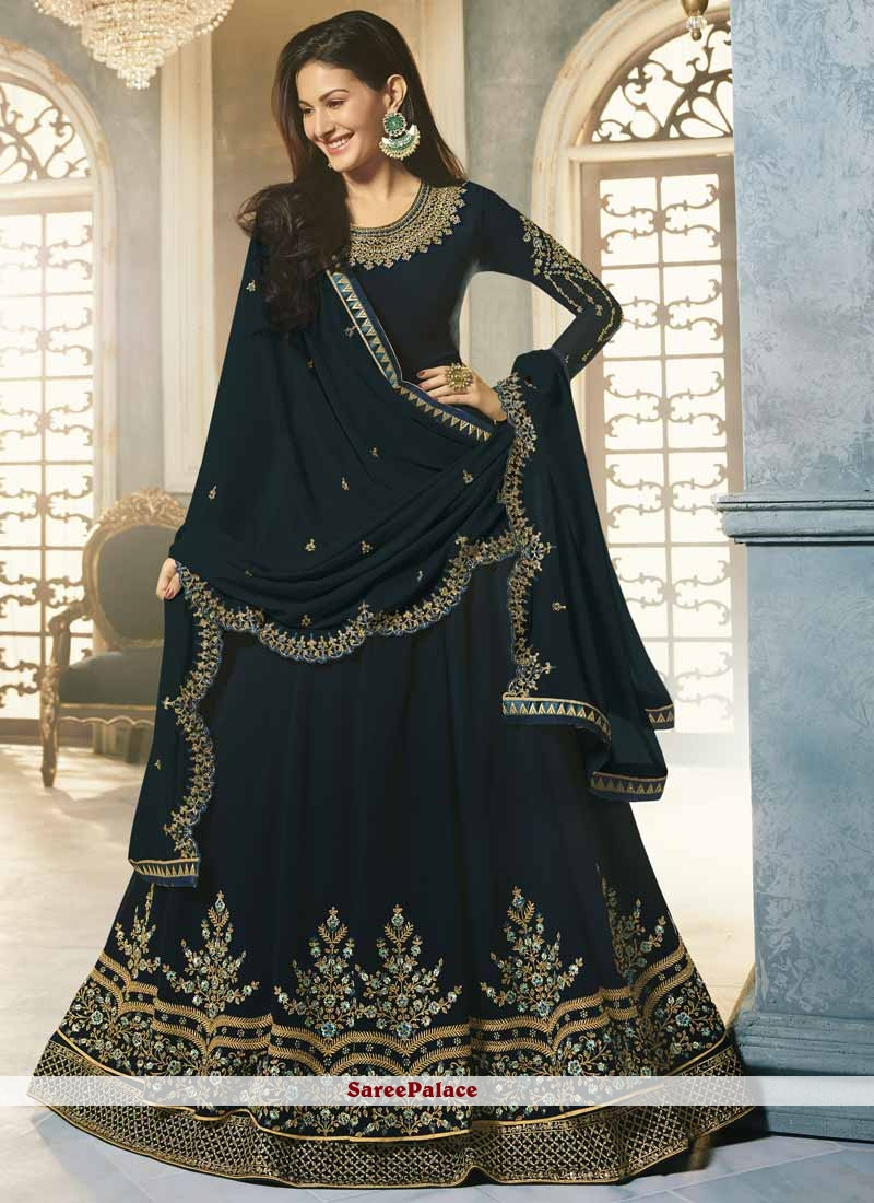 Navy Blue Faux Georgette Floor Length Anarkali Suit