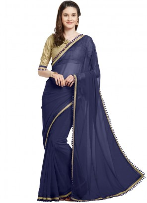 Navy Blue Faux Georgette Party Casual Saree