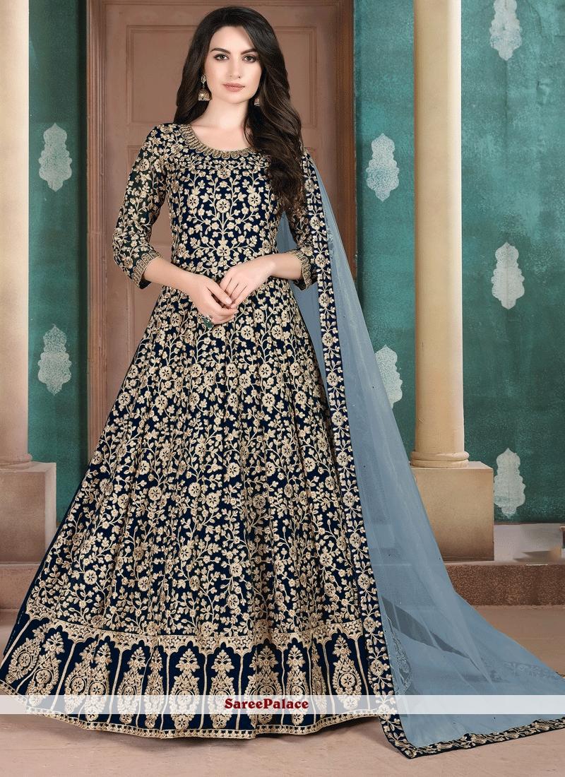 Navy Blue Faux Georgette Party Trendy Salwar Suit