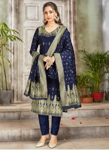 Navy Blue Festival Art Banarasi Silk Pant Style Suit