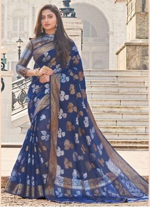 Navy Blue Festival Cotton Trendy Saree