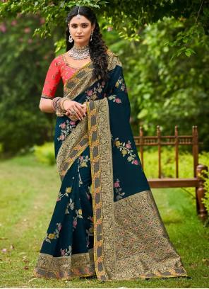Navy Blue Festival Designer Traditional Saree